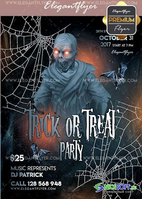Trick or Treat Party V1 Flyer PSD Template + Facebook Cover