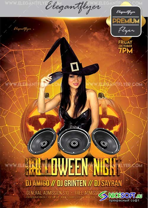 Halloween Night 2017 V03 Flyer PSD Template + Facebook Cover
