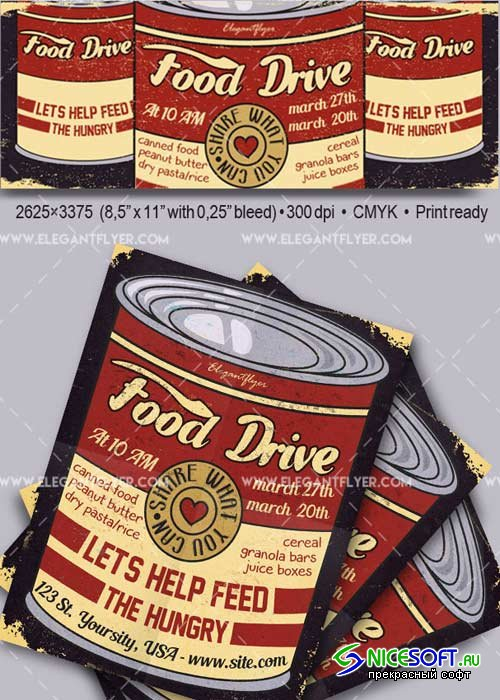 Food Drive V1 Flyer PSD Template + Facebook Cover