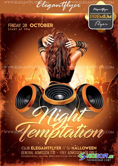 Night Temptation V3 Flyer PSD Template + Facebook Cover