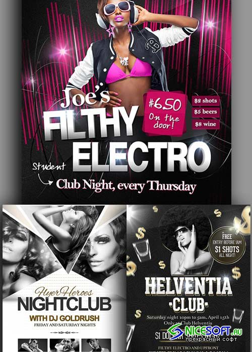 Nightclub 3in1 V1 Flyer Templates