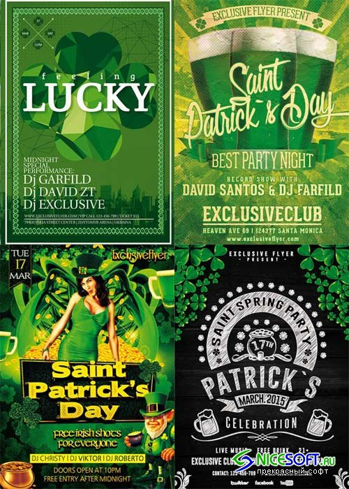 St. Patrick's Day 4in1 V1 Flyer Template
