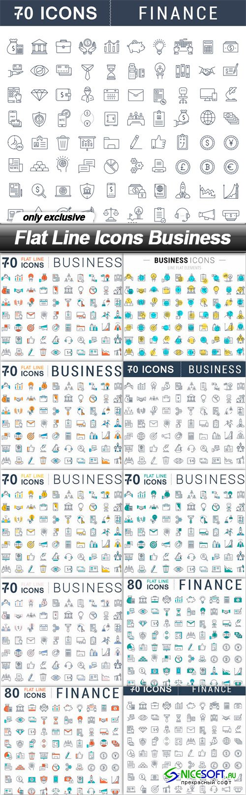 Flat Line Icons Business