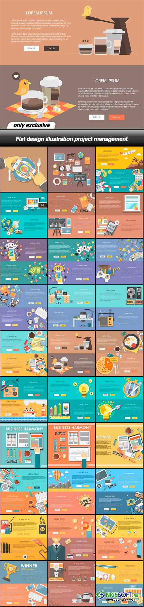 Flat design illustration project management