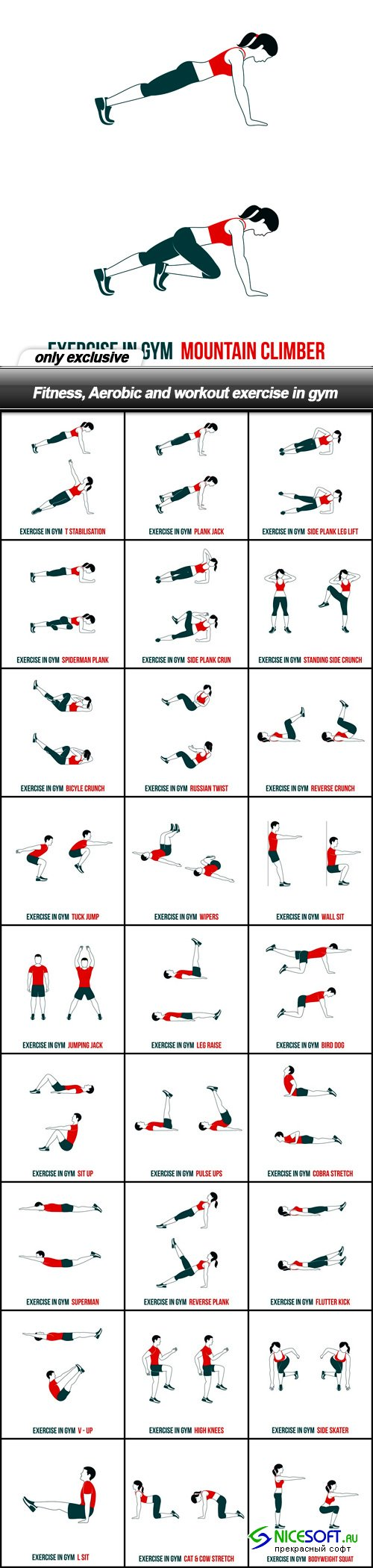Fitness, Aerobic and workout exercise in gym