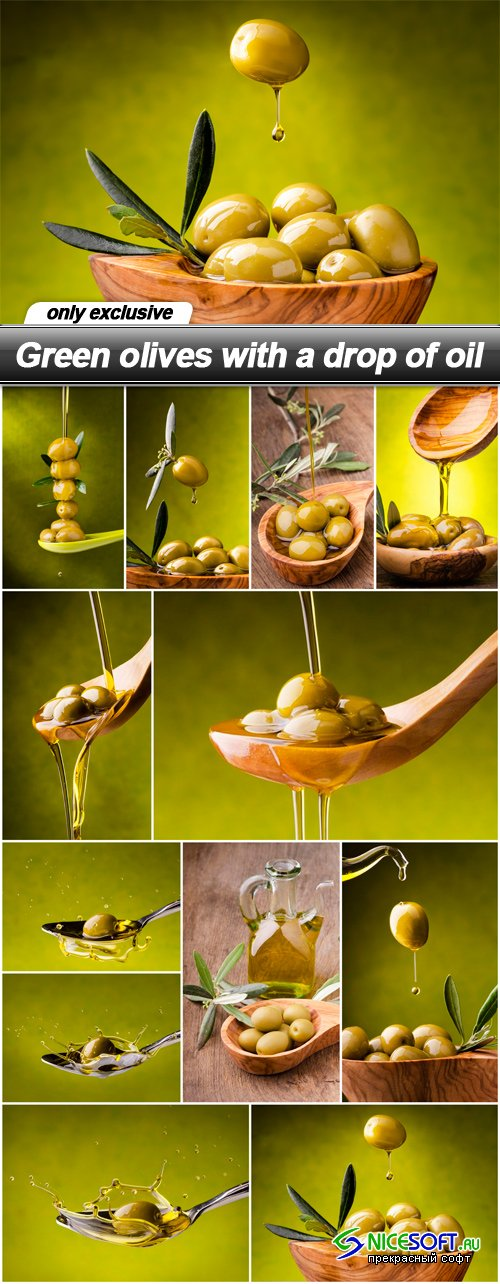 Green olives with a drop of oil