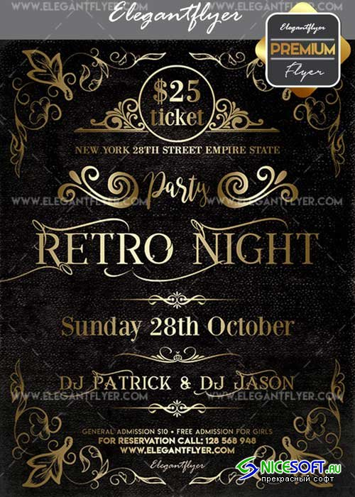Retro Night Party V22 Flyer PSD Template + Facebook Cover