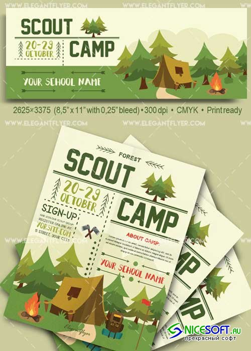 Scout Camp Flyer PSD V23 Template + Facebook Cover