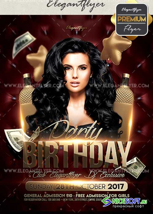 Birthday Party V44 Flyer PSD Template + Facebook Cover