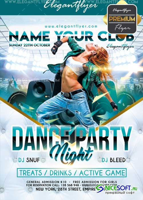 Dance party V48 2017 Flyer PSD Template + Facebook Cover