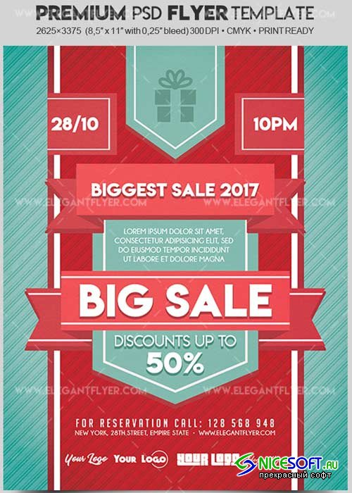 Big Sale V36 2017 Flyer PSD Template + Facebook Cover
