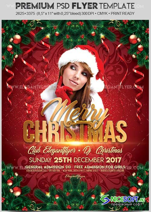Merry Christmas V13 2017 Flyer PSD Template + Facebook Cover