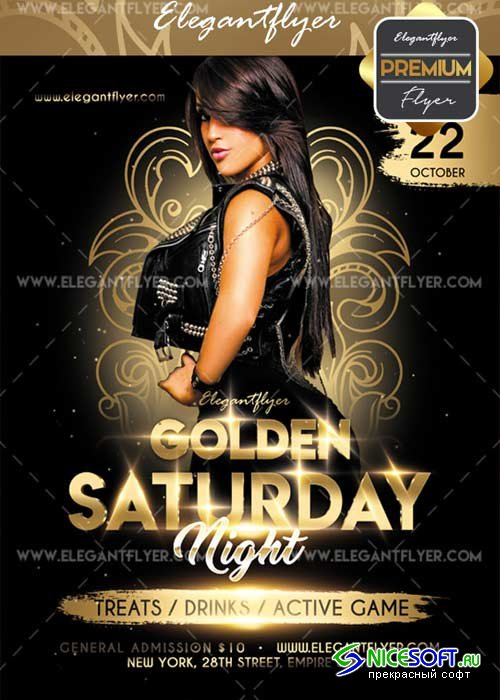 Golden saturday Party V5 Flyer PSD Template + Facebook Cover