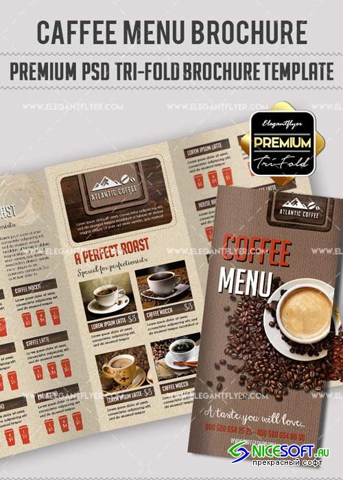 Coffee Menu V4 Premium Tri-Fold PSD Brochure Template