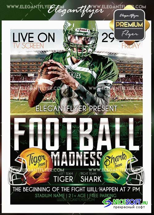 Football Madness V5 Flyer PSD Template + Facebook Cover