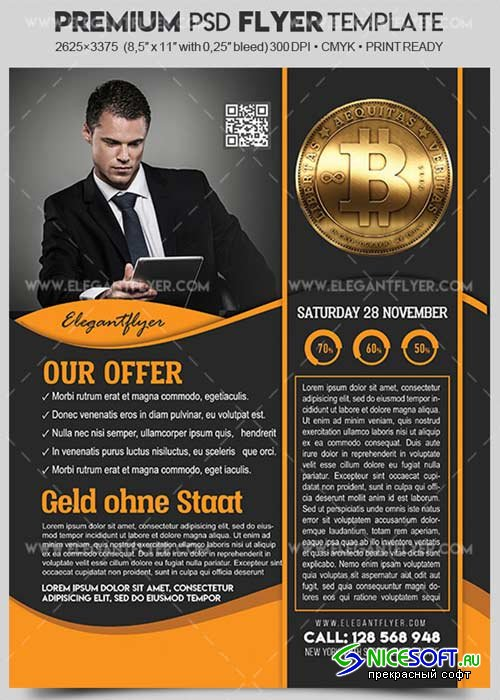 Bitcoin V3 Flyer PSD Template + Facebook Cover