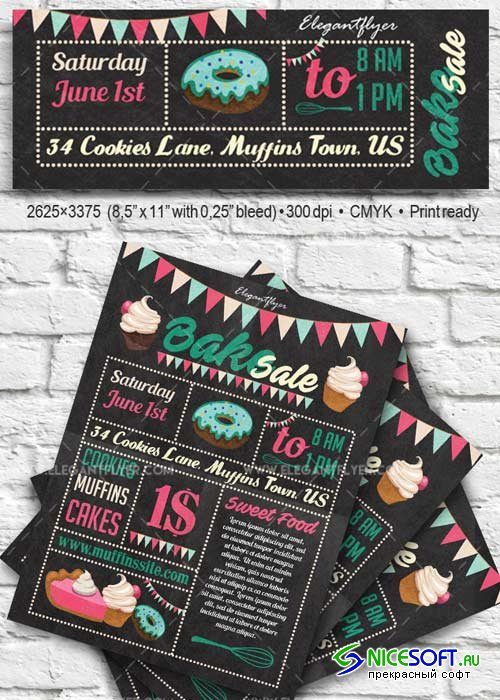 Bake Sale Flyer PSD V17 Template + Facebook Cover