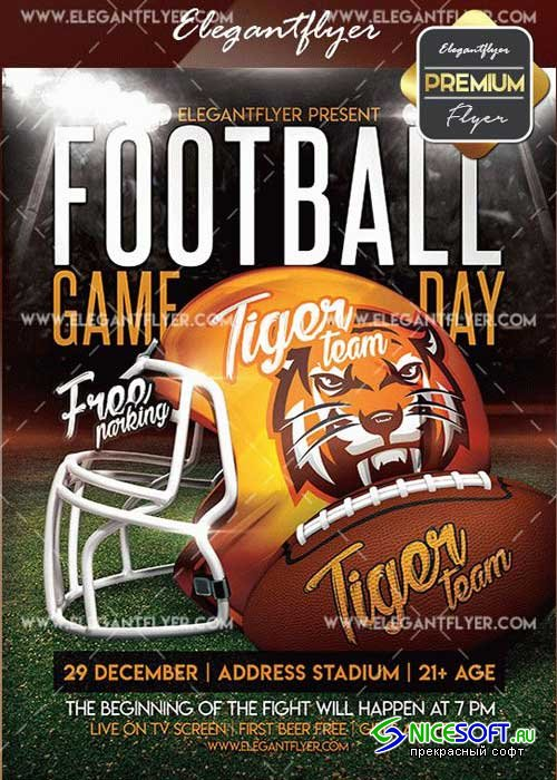 Football GameDay V1 Flyer PSD Template + Facebook Cover
