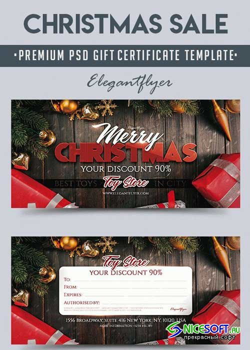 Christmas Sale V2 Premium Gift Certificate PSD Template