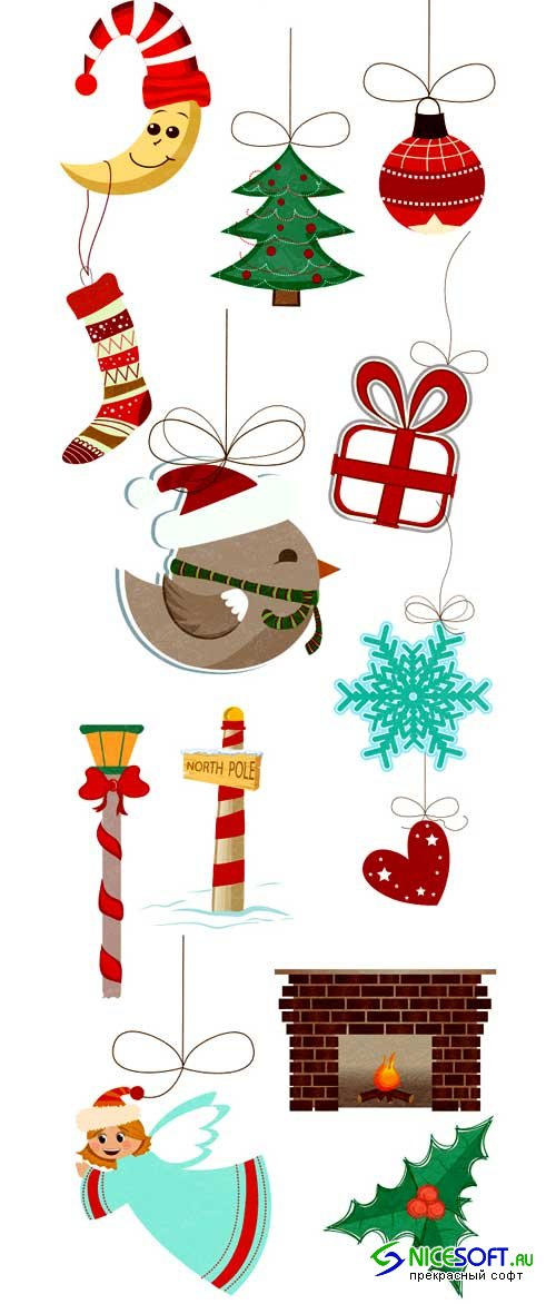 Christmas Vector Ornaments Set 2 - Stock Vector
