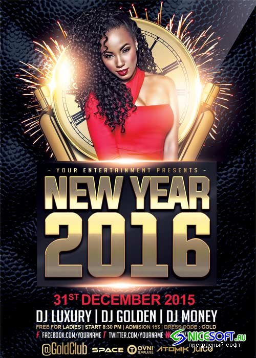 New Year V3 2018 Flyer Template