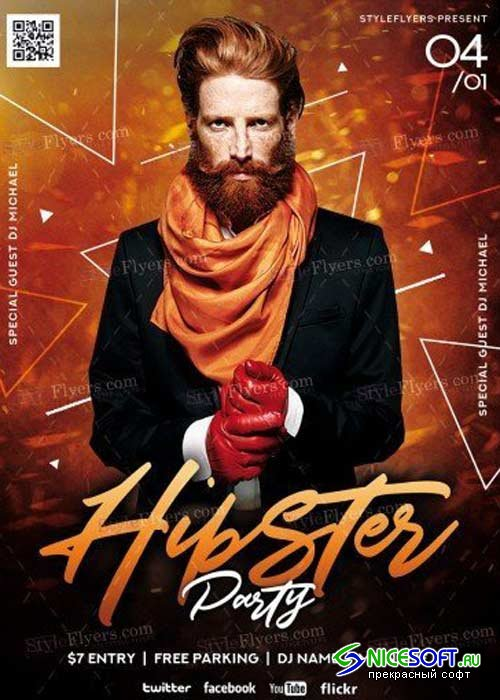 Hipster Party V1 PSD Flyer Template