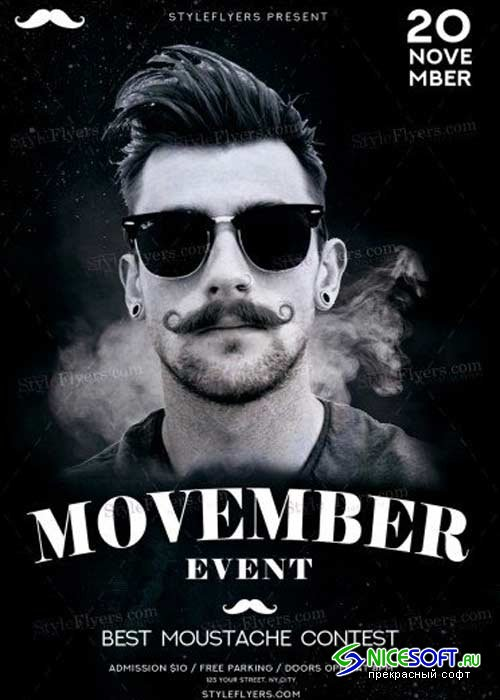 Movember Event V20 PSD Flyer Template