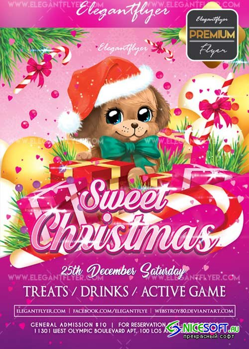 Sweet Christmas V1 2017 Flyer PSD Template + Facebook Cover