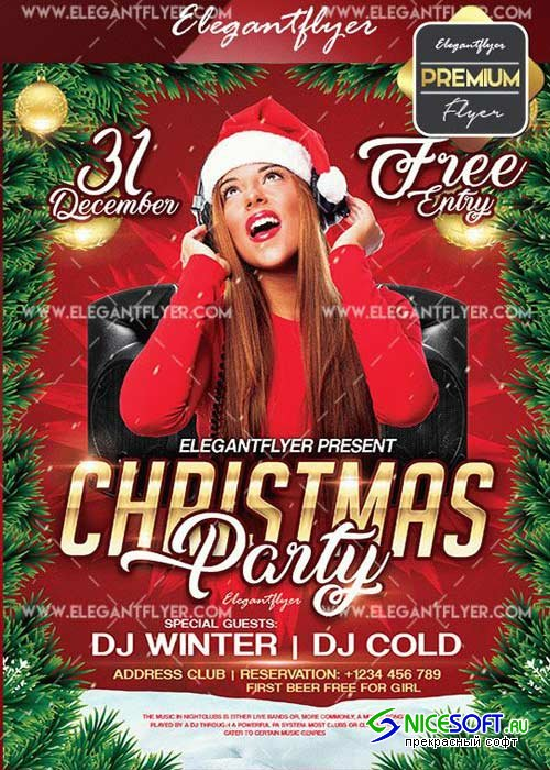 Christmas Party V27 2017 Flyer PSD Template + Facebook Cover