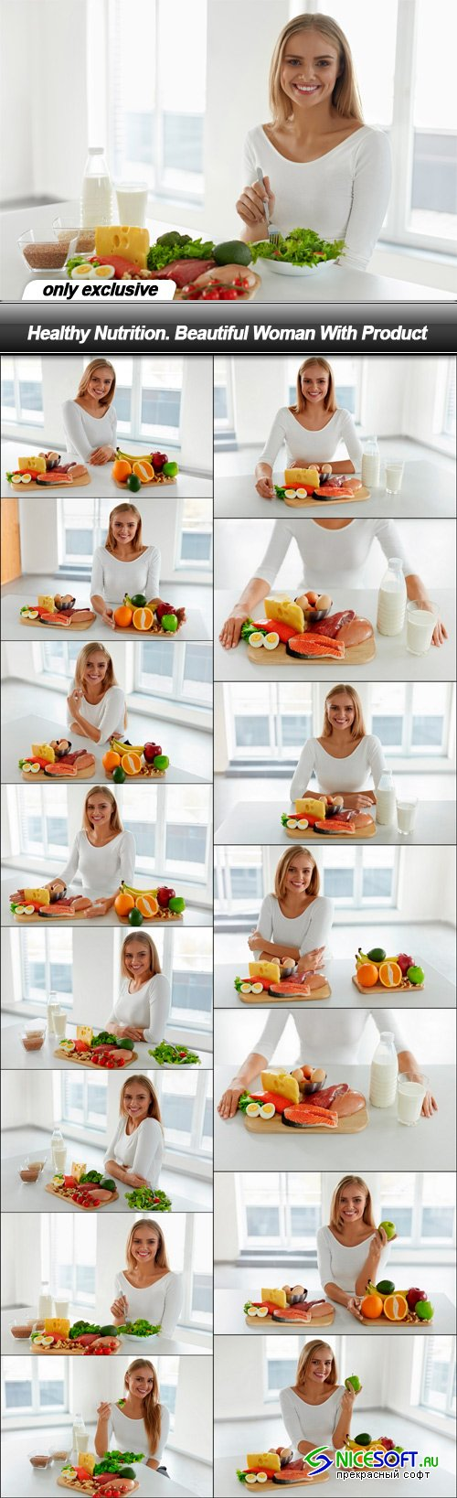 Healthy Nutrition. Beautiful Woman With Product