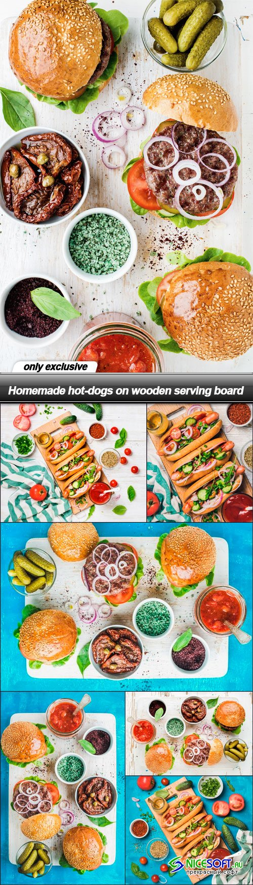 Homemade hot-dogs on wooden serving board