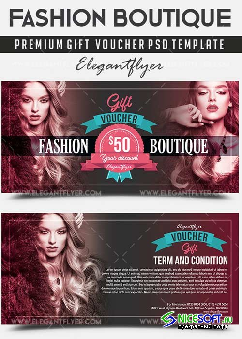 Fashion Boutique V1 Premium Gift Certificate PSD Template