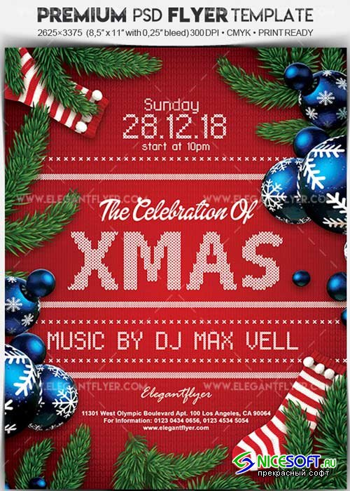 The Celebration Of Christmas V7 Flyer PSD Template + Facebook Cover