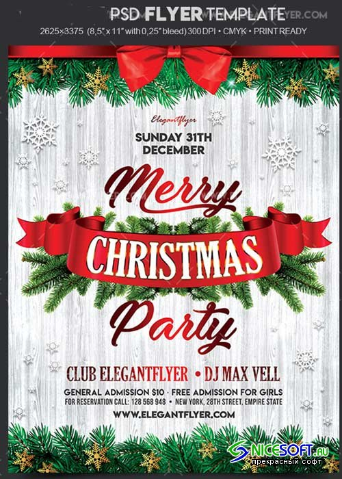 Christmas Party 2017 V24 Flyer PSD Template + Facebook Cover