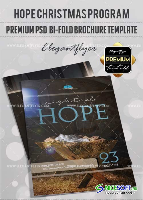 Hope Christmas Program V1 Premium Bi-Fold PSD Brochure Template