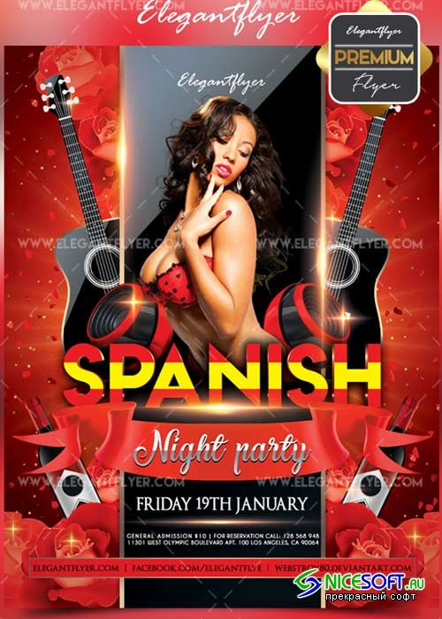 Spanish night party V1 Flyer PSD Template + Facebook Cover