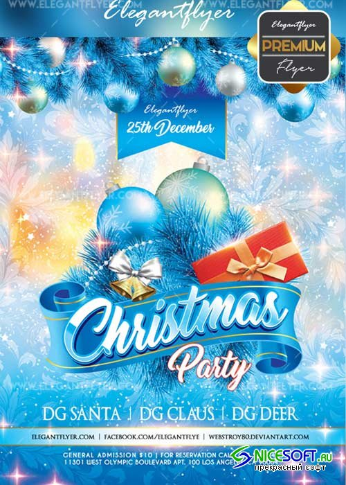 Merry Christmas V31 2017 Flyer PSD Template + Facebook Cover