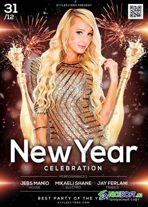 New Year Celebration V21 PSD Flyer Template