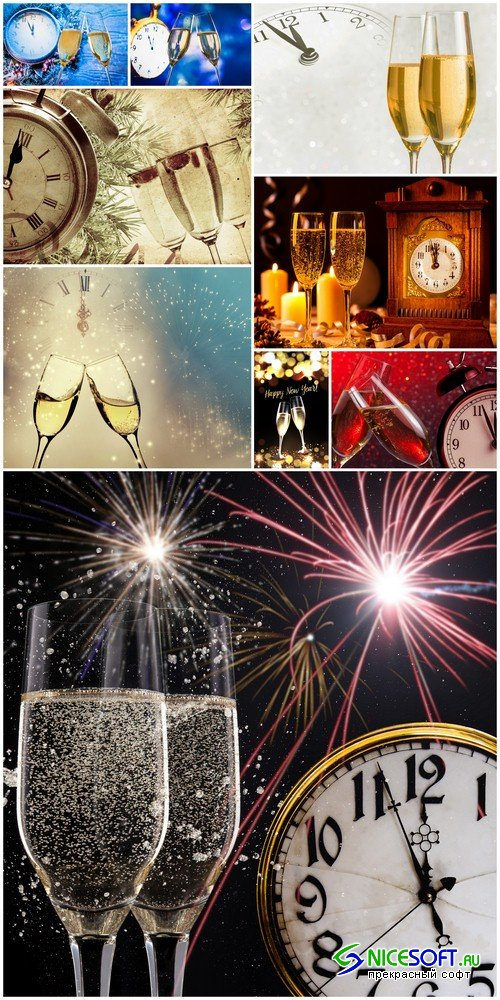 New Year background with champagne - 9 UHQ JPEG