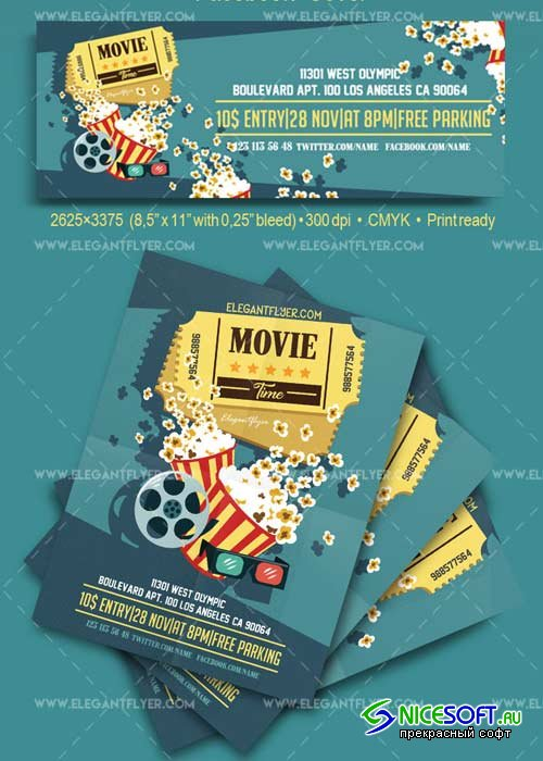 Movie Time V7 Flyer PSD Template + Facebook Cover