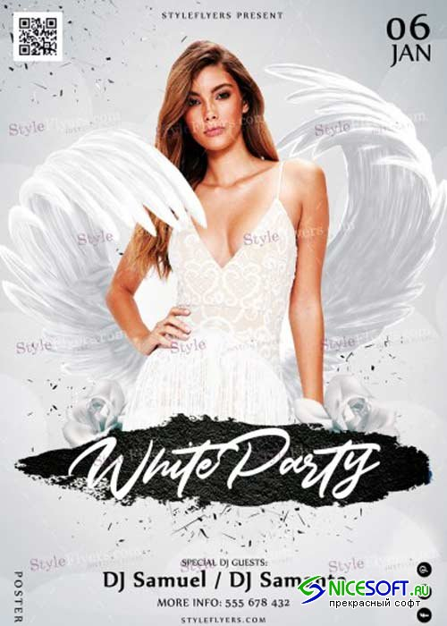 White Party V36 PSD Flyer Template