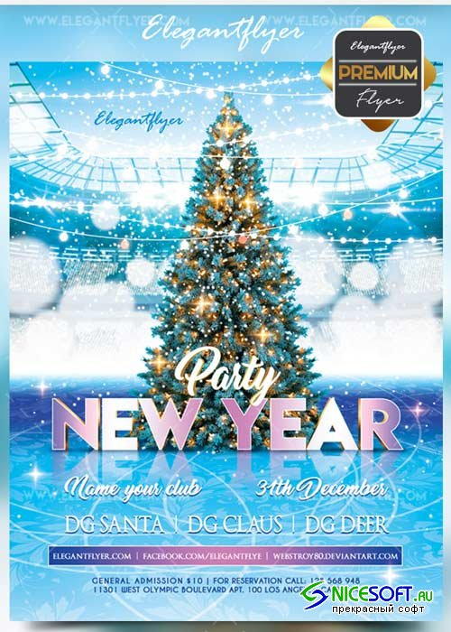New Year 2018 V45 Flyer PSD Template + Facebook Cover