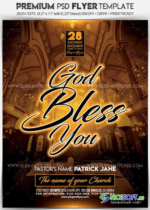 God Bless You V1 Flyer PSD Template + Facebook Cover