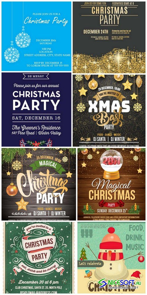 Christmas party invitation - 8 EPS
