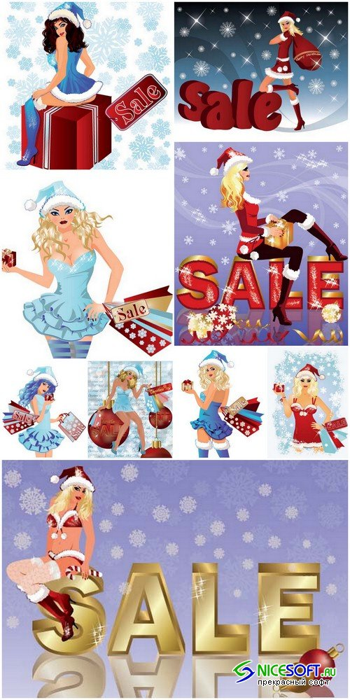 Christmas sale background - 9 EPS