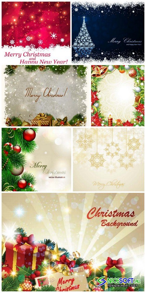 Christmas backgrounds 5 - 7 EPS