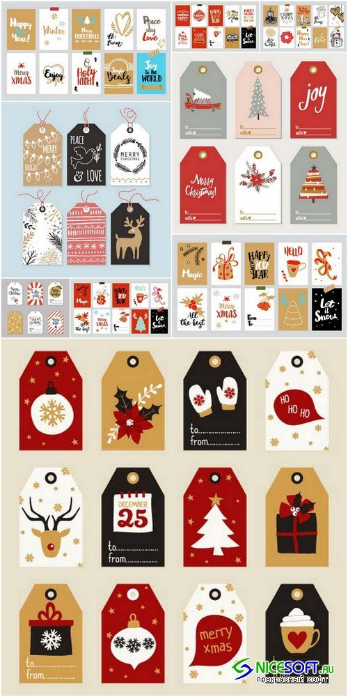 Christmas tags - 9 EPS
