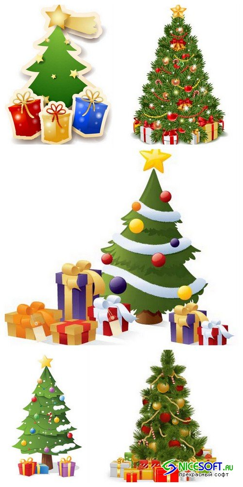 Christmas tree with gifts 1 - 5 EPS