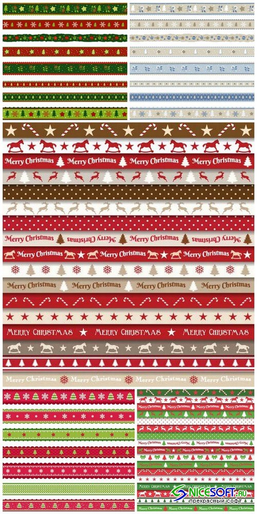 Collection of Christmas ribbons - 5 EPS