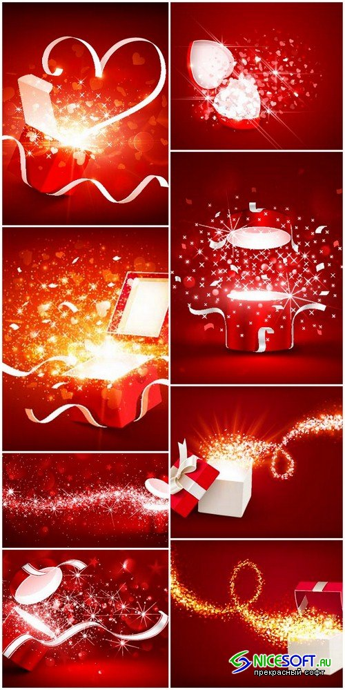 Gift box on a red background - 8 EPS